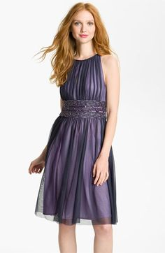 JS Boutique Cutaway Shoulder Beaded Mesh Dress available at #Nordstrom