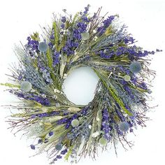 "Dried Flowers and Wreaths LLC 22"" Visions of Blue Wreath"
