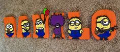 Despicable Me Letters - Custom Wood Letters - Minion Letters - Hand Painted Letters by ChicDesignsByTiffany on Etsy https://www.etsy.com/listing/512937234/despicable-me-letters-custom-wood