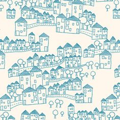Houses Pattern by birds & trees