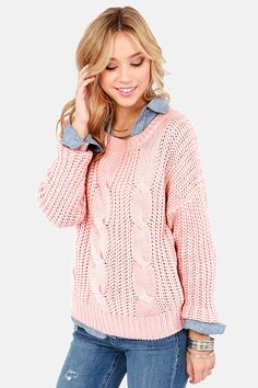 Pink Long Sleeve Cable Knit Sweater - Fashion Clothing, Latest Street Fashion At Abaday.com
