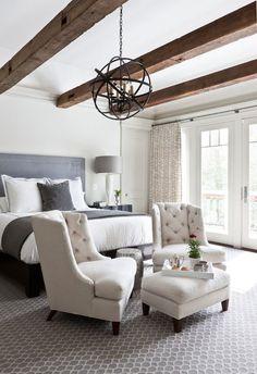 Christine Huve Interior Design - bedrooms - chic bedrooms, greek key headboard, gray greek key headboard, gray velvet headboard, white and g...
