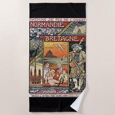 #Paris French Railroad Travel Poster Beach Towel - #beach #travel #beachlife
