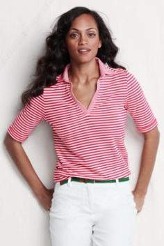 a9be9f20dc40b Womens Elbow Sleeve Stripe Cotton Modal Pique Polo from Lands End