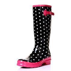ZLYC Women Waterproof Rubber Rain Boots Cute Polka Dot Print Candy Rainboots with Mid Calf Round Toe Size US 7 *** You can find out more details at the link of the image.(This is an Amazon affiliate link and I receive a commission for the sales)