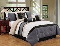 7 Piece King Black/Gray Comforter Set