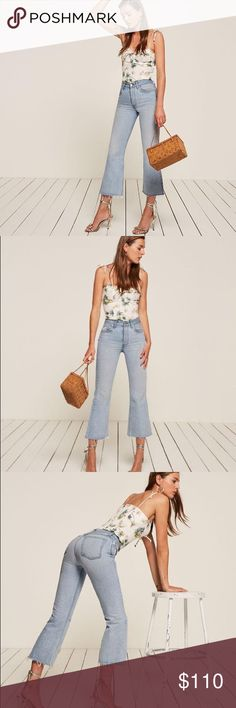 """REFORMATION Mid-crop flare Caribbean mid crop flare from Reformation ***New With Tags*** light denim wash....great with crop tee or bodysuit for summer. Received as a gift and they do not fit. Inseam: 26"""" rise: 11 3/4"""" Price is firm. Reformation Jeans Ankle & Cropped"""