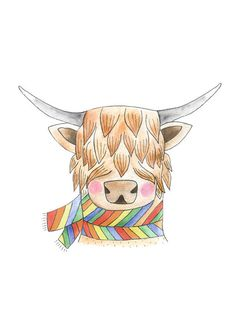 Retro Highland Cow Art Print. Watercolour. by HelloPants on Etsy