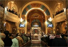 The interior of a Coptic church in Egypt.