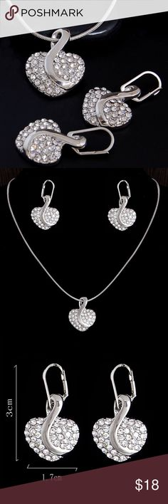 """18K White Gold Plated Necklace and Earrings Austrian White Crystals Heart Pendant and Earring Set in 18K White Gold Plate chain is 16-20"""" Jewelry Necklaces"""