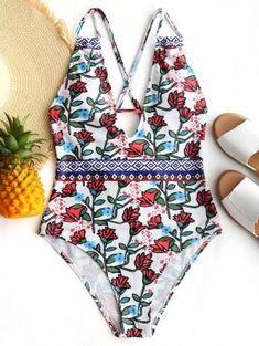 2809e6322b Carnation Print One Piece Swimsuit - White M Garofani, Costumi Da Bagno,  Abbigliamento Da