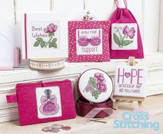 Perfect patterns to stitch and raise money for charity - these Breast Cancer Awareness projects (plus more in the mag!) are fab quick-makes. Thanks to our design team who've created these ideas to be copyright-free for you, only in the new issue, 220, of The World of Cross Stitching magazine.