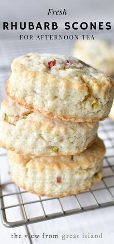 Scones ~ these pretty scones loaded with little bits of juicy rhubarb make a perfect breakfast or afternoon tea-time treat.Rhubarb Scones ~ these pretty scones loaded with little bits of juicy rhubarb make a perfect breakfast or afternoon tea-time treat. Rhubarb Desserts, Just Desserts, Dessert Recipes, Healthy Rhubarb Recipes, Brunch Recipes, Rhubarb Scones, Rhubarb Bread, Rhubarb Cookies, Rhubarb Rhubarb