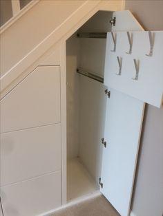 Stairs Storage Drawers, Stairway Storage, Hallway Storage, Under Stairs Storage Solutions, Diy Hidden Storage Ideas, Loft Conversion Bedroom, Closet Shoe Storage, Stair Railing Design, Under Stairs Cupboard