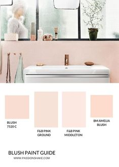 Try pink tiles, small accessories, repainting the wall or renter's stickers to get the Pink, Modern Bathroom LooK. Pink Modern Bathrooms, Retro Bathrooms, Ocean Bathroom, Bathroom Floor Tiles, Basement Bathroom, Bathroom Ideas, Pink Cabinets, Johnson Tiles, Basement Paint Colors