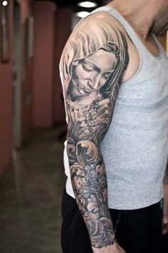 Image result for black and gray religious sleeve tattoos