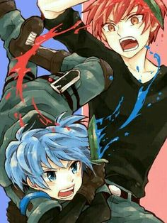 Nagisa, Karma, knives, blue, red, paint, battle, fighting; Assassination Classroom