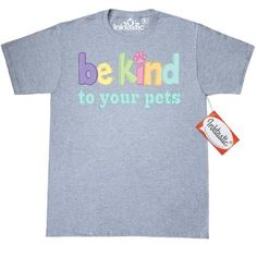 Inktastic Be Kind To Your Pets T-Shirt Dogs Cats Pet Owner Dog Cute Pastel Animals Mens Adult Clothing Apparel Tees T-shirts Hws, Size: XL, Grey