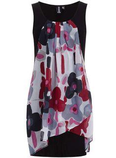 Izabel London Multi Black Floral Layer Dress - Dresses - Clothing