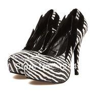 2014 Hot cheap free shipping fashion casual shoes waterproof Taiwan high-heeled shoes 009-07 # zebra Wholesale