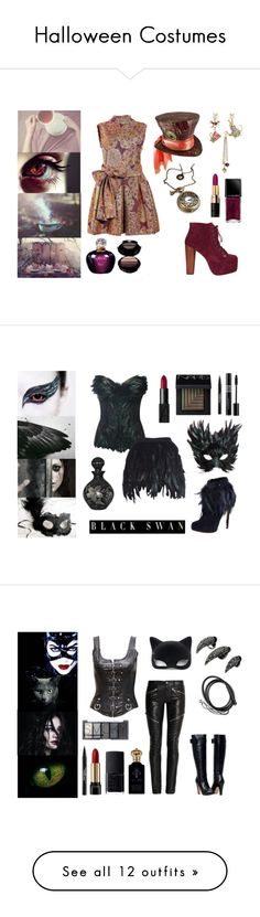 """""""Halloween Costumes"""" by the-girl-in-the-red-dress ❤ liked on Polyvore featuring ELLA, Jeffrey Campbell, Betsey Johnson, Illamasqua, Bobbi Brown Cosmetics, Christian Dior, Giorgio Armani, LEE KLABIN, Masquerade and Nicholas Kirkwood"""