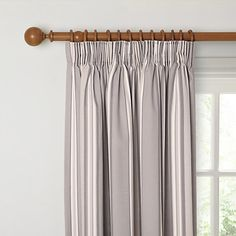 Buy John Lewis & Partners Alban Stripe Pair Blackout Lined Pencil Pleat Curtains, Grey from our Ready Made Curtains & Voiles range at John Lewis & Partners. Lounge Curtains, Pleated Curtains, Grey Curtains, Panel Curtains, John Lewis Ready Made Curtains, Home Renovation, Home Remodeling, Georgian Interiors, Pencil Pleat