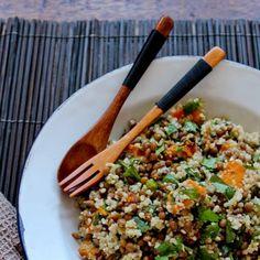 Pumpkin, lentil and cous cous salad withdukkah