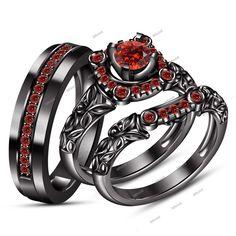 Men's & Ladies 14K Black Gold Fn Garnet Engagement Bridal Wedding Ring Trio Set #affordablebridaljewelry