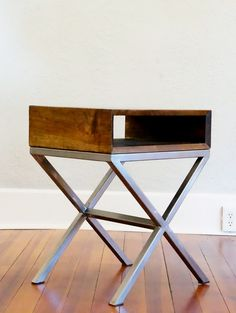 Perfect open shelf night stand design, handmade from solid cherry and welded steel.
