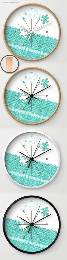 WALL CLOCK designed by We~Ivy. Different colors & sizes available. Follow We~Ivy's Art BootH for more special #art #gift ideas for #holiday seasons or # birthday #party, to find great #home decors or stuff just to spoil yourself. Wall Clock Design, Presents For Friends, My Themes, Website Themes, Hand Towels, Ivy, Waves, Tapestry, Ocean