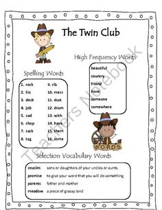 The Twin Club Reading Street 2013 Grade 2 from Danielle's Delights on TeachersNotebook.com (9 pages)  - A variety of resources for 2nd Grade Reading Street Story The Twin Club.  It includes many ready to use activities for spelling & vocabulary & word lists for parents/newsletters.