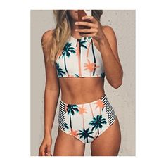 Rotita High Waist Zipper Closure Padded Two Piece Printed Swimwear (£12) ❤ liked on Polyvore