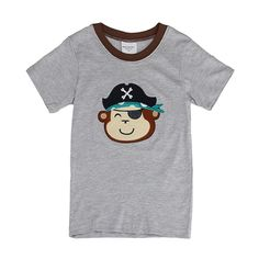 Sale 16% (5.99$) - 2015 New Lovely Monkey Baby Children Boy Pure Cotton Short Sleeve T-shirt Top