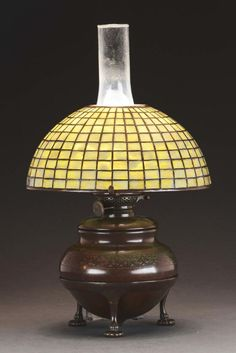Tiffany Studios table lamp has dome shaped leaded shade made up of geometric mottled green glass panels. Shade is sig. Soft Lighting, Studio Lamp, Contemporary Lamps, Oil Lamps, Geometric Table Lamp, Lamp, Large Lamps, Glass Panels, Retro Lamp