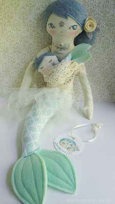 OOAK Tattooed Mermaid mama and baby doll set Lorelei by littledear on Etsy