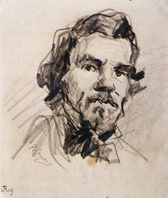 Paul Cezanne - Portrait of Eugene Delacroix Paul Cezanne, Guy Drawing, Painting & Drawing, Cezanne Portraits, Romanticism Artists, Portrait Sketches, Pencil Portrait, Gravure, Art Plastique