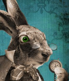 A very cool white rabbit. -I'm Late. 8x10 print. White Rabbit fantasy art. BarkingMadArts.