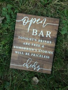 Open Bar Wedding Sign, Wedding Sign, Wooden Wedding Sign, Open Bar Sign is part of Wedding bar sign Open bar sign! Adds a beautiful rustic touch to any wedding!Wood sign with kona stain and white vi - Wooden Wedding Signs, Wedding Signage, Rustic Wedding Signs, Funny Wedding Signs, Wedding Sayings, Wedding Sign In Ideas, Rustic Signs, Wedding Ceremony Signs, Rustic Barn