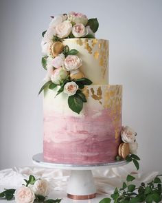 100 Pretty Wedding Cakes To Inspire You For An Unforgettable Wedding - Dusty Pink x David Austin Roses watercolor wedding cake ,ombre wedding cake Wedding Cake Fresh Flowers, Floral Wedding Cakes, Wedding Cake Rustic, Elegant Wedding Cakes, Wedding Cake Designs, Wedding Cake Toppers, Gold Wedding, Rustic Cake, Wedding Vows