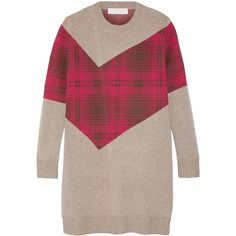 Thakoon Addition Addition tartan-paneled knitted sweater (14.420 RUB) ❤ liked on Polyvore featuring tops, sweaters, plaid top, loose tops, long tops, long loose sweaters and long length tops