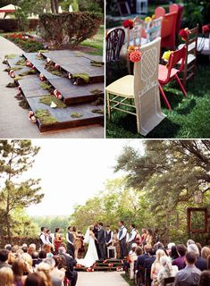 Create a ceremony stage with wood palettes: It's such a great way to make sure all your guests can see the two of you and on budget as you can pick up wood palettes for free from places like Home Depot