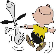 Cross Stitch Pattern  COLOR Peanuts Charlie Brown Snoopy Dog Beagle Dancing Joy
