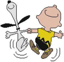 Cross Stitch Pattern  COLOR Peanuts Charlie Brown Snoopy Dog Beagle Dancing Joy