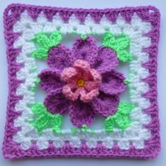Flower in granny square (3) by Luba Davies | Crocheting Ideas - Find out more about Luba Davies'Crocheting project Flower in granny square (3) on Craftsy! - via @Craftsy