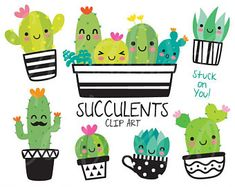 Cute Succulent and Cactus EPS PNG succulent cactus cacti summer plant desert pot green cute face happy smile character cup spike sharp thorn funny botany group vector illustration eps png clipart clip art set collection graphic tropical garden isolated Cactus Clipart, Cactus Vector, Homemade Business, Summer Plants, Printable Invitations, Printable Banner, Printables, Classroom Themes, Embroidery Files