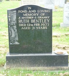 This is the gravestone of Ruth Bentley, she is my 1st cousin 1x removed. Ruth was born in Clitheroe, Lancashire on 26th January 1906 to parents Robert Halstead and Ellen Musgrove. She married Albe…