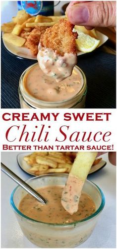 So quick and easy to make, you might never buy tartar sauce again. This versatile Creamy Sweet Chili Sauce will be your new favorite seafood sauce alternative, salad dressing, fry sauce and dip, just don& tell people how easy it was to make. Chili Sauce Recipe, Sauce Recipes, Seafood Recipes, Cooking Recipes, Seafood Dip, Sweet Chili Aioli Recipe, Pizza Recipes, Chutneys, Pesto