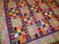 Kaffes Colorful Stripes and Squares Modern Quilt by NonnaZac on Etsy https://www.etsy.com/listing/174163331/kaffes-colorful-stripes-and-squares
