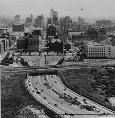 Aerial view, downtown Dallas, Texas, triple underpass, Old Red Courthouse (1948) by coltera, via Flickr