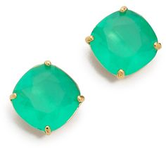 Kate Spade New York Small Square Stud Earrings - Beryl Green ($38) ❤ liked on Polyvore